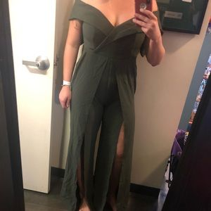 Army green Jumpsuit with slits on both legs